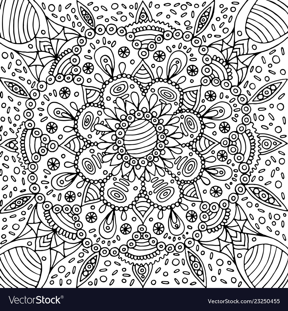 Floral graphic mandala - coloring page for adults