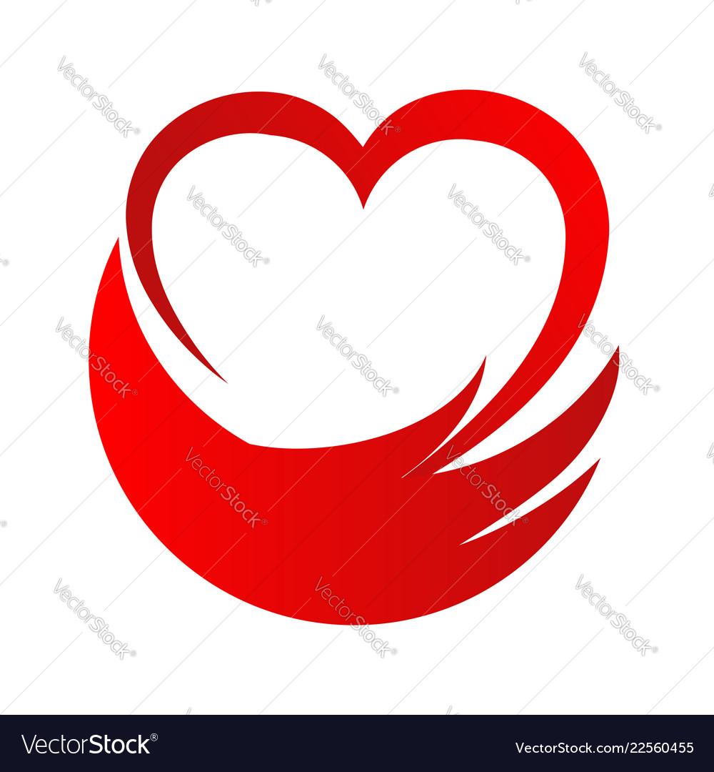 Love heart hand help abstract logo stock