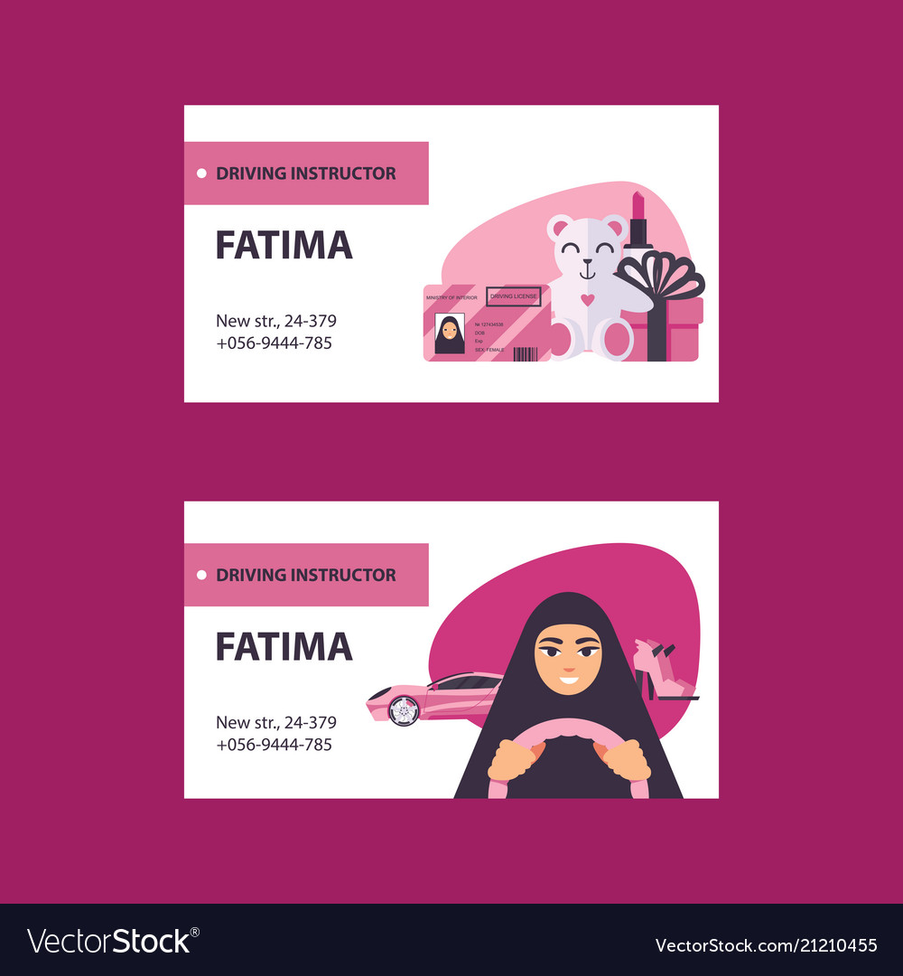 Pink and white business cards with driving licence