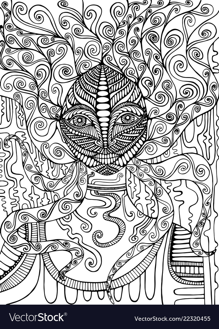 Psychedelic goddess coloring page isolated