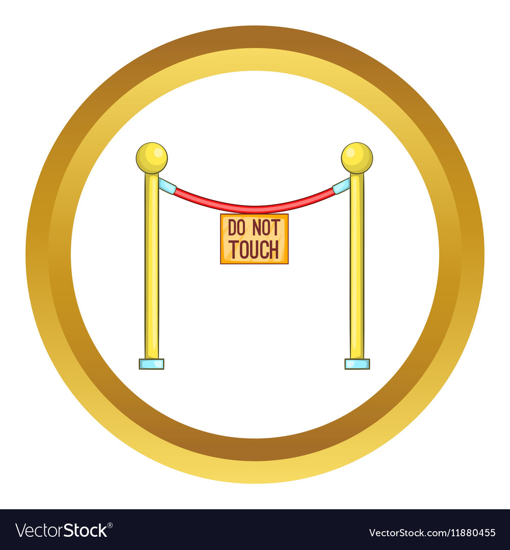 Rope barrier with sign do not touch icon vector image