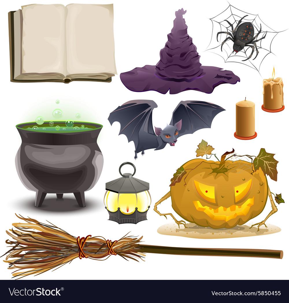 Halloween Pumpkin Accessories.Set Halloween Objects Accessories Pumpkin Vector Image