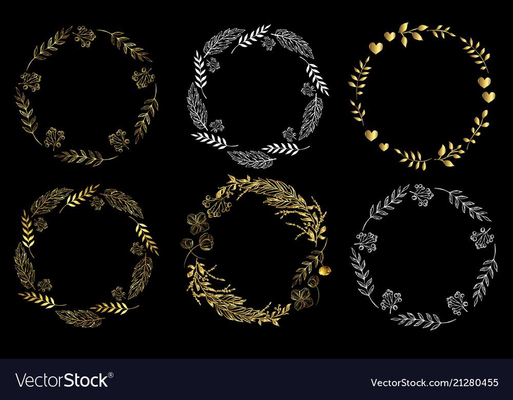 Set of circle frames on a black background doodle
