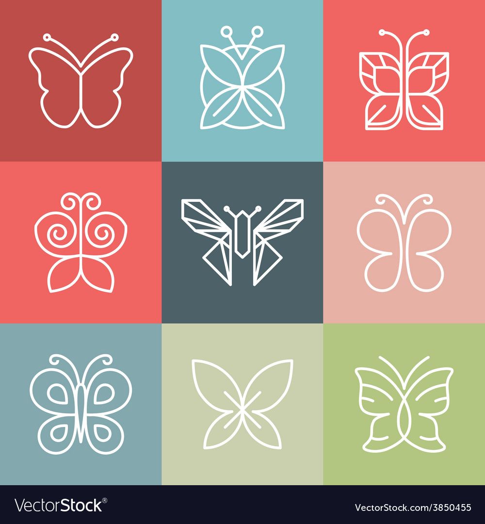 Set of line butterfly logos and icons