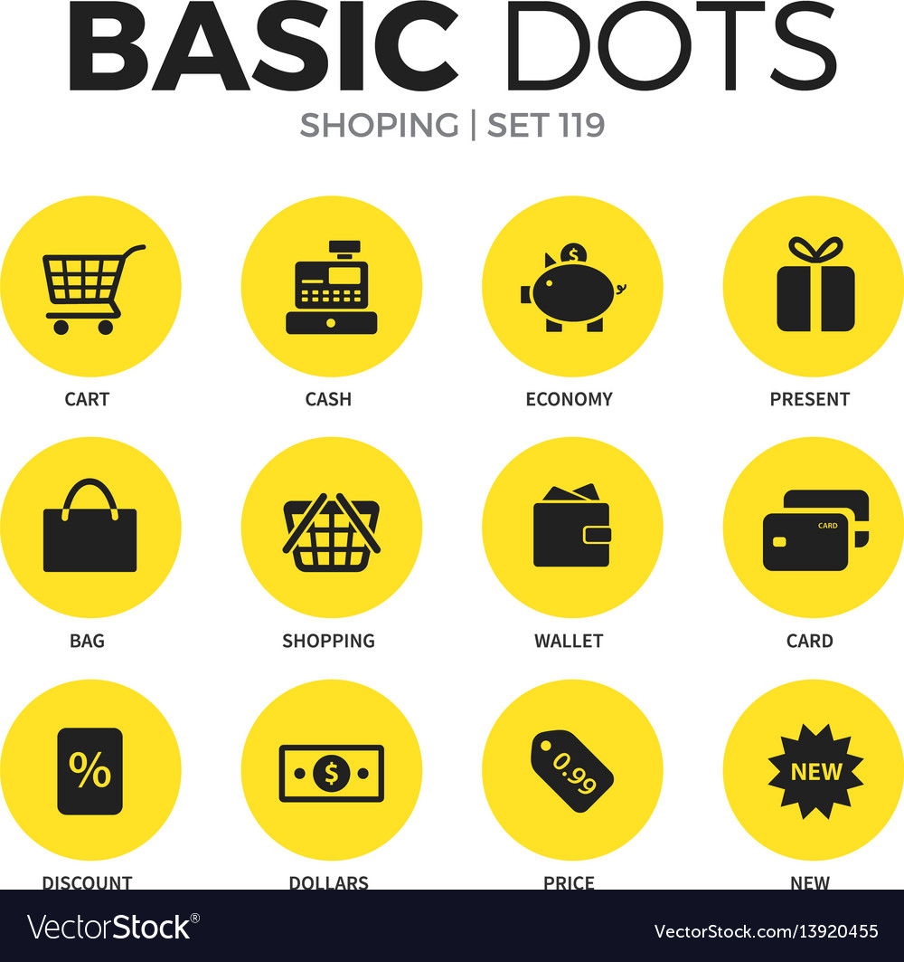 Shoping flat icons set