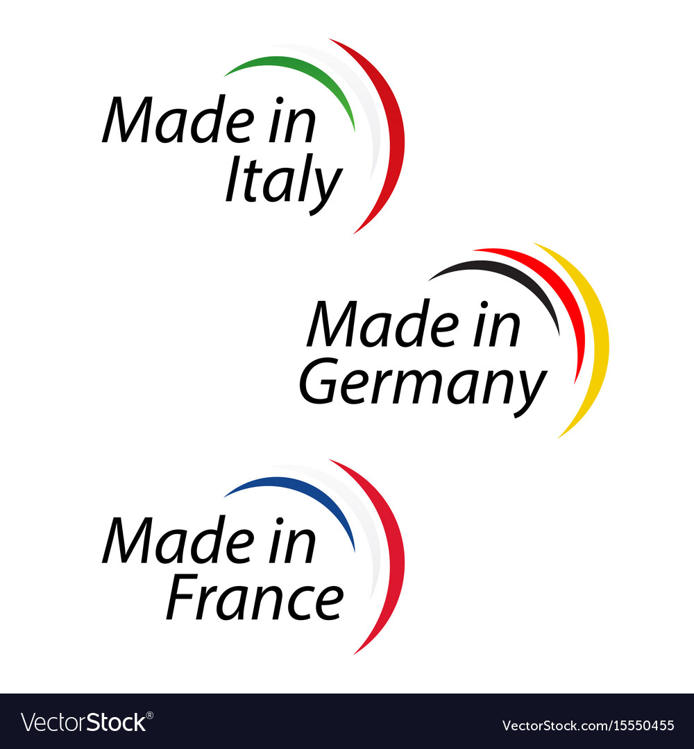 Simple Logos Made In Italy Made In Germany Vector Image