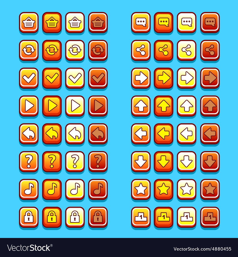 Yellow game icons buttons icons interface ui