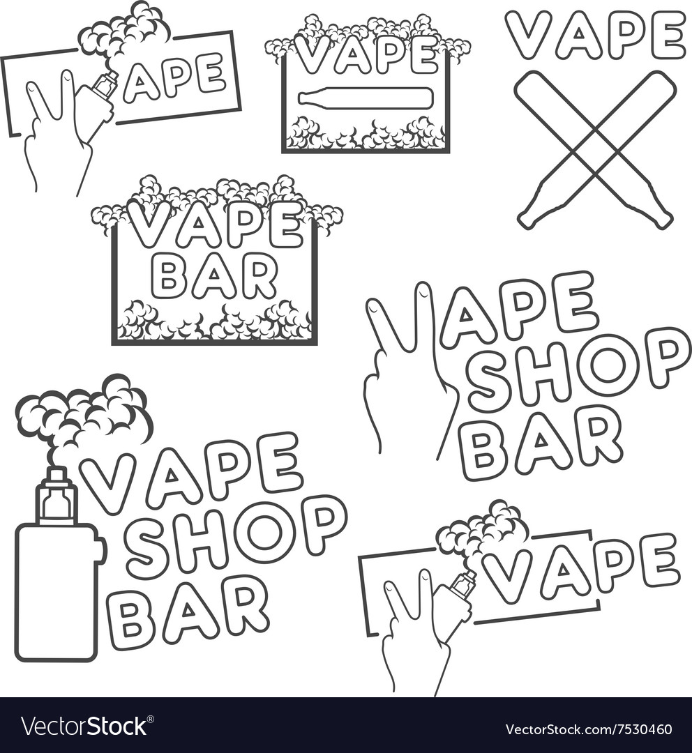A set of electronic cigarette logos vector image on VectorStock