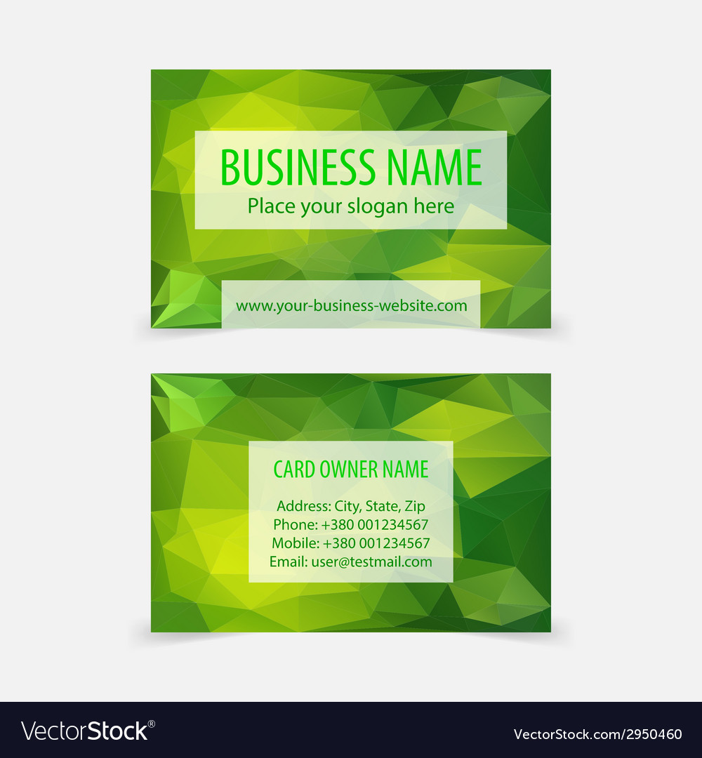 Abstract Green Polygonal Business Cards Vector Image