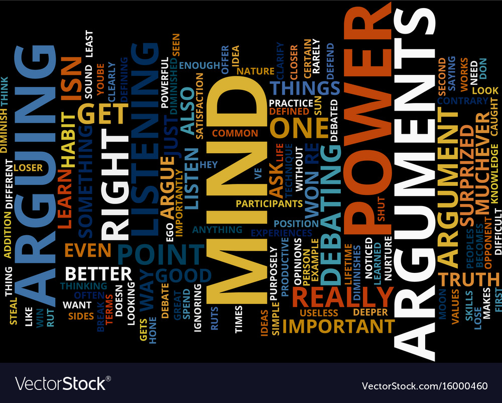 Arguments steal mind power text background word