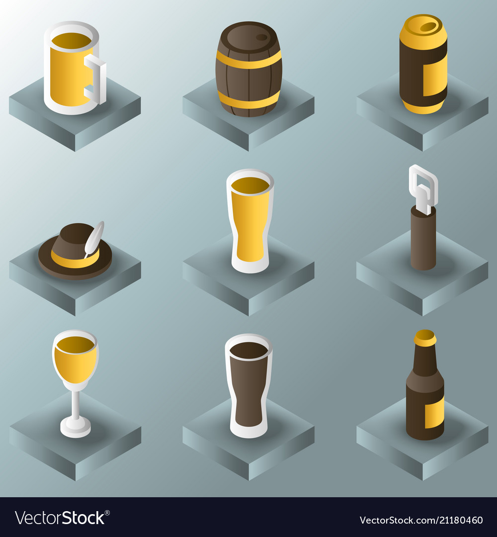 Beer color gradient isometric icons