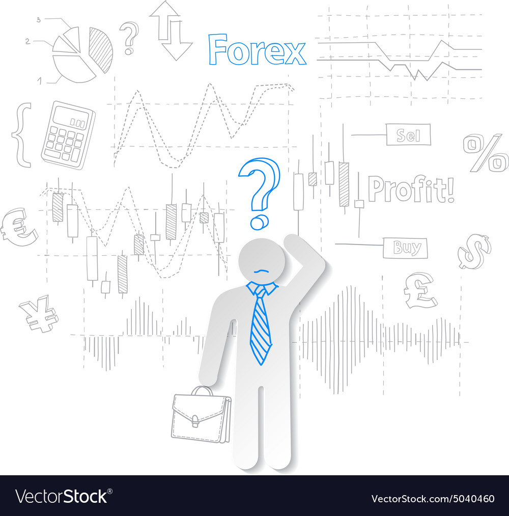 Forex Trader And Question Symbol Stock Trading Vector Image