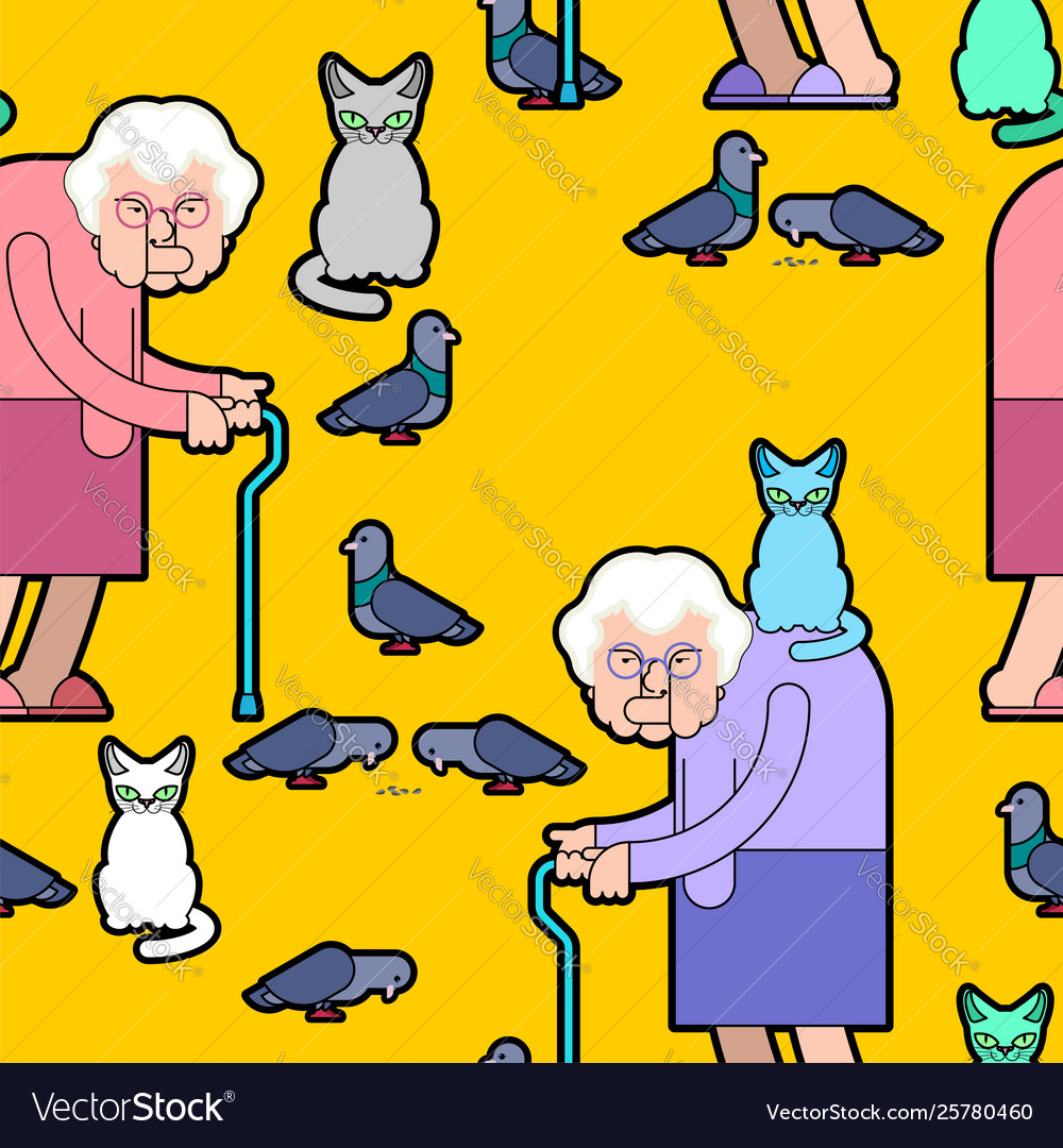 Grandmother feeds pigeons pattern grandma and cat