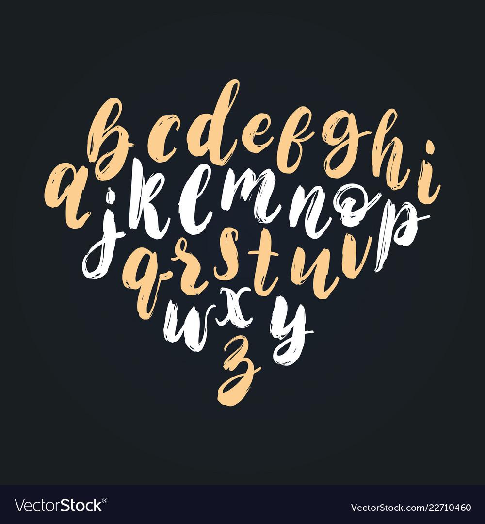 Handwritten english alphabet calligraphy
