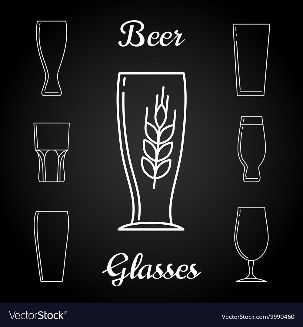 Line beer glasses icons on blackboard vector image