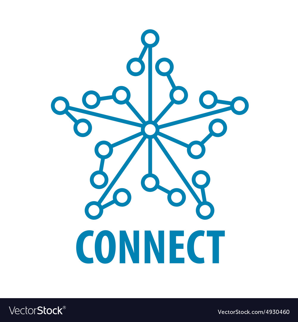Logo connect to the star network vector image