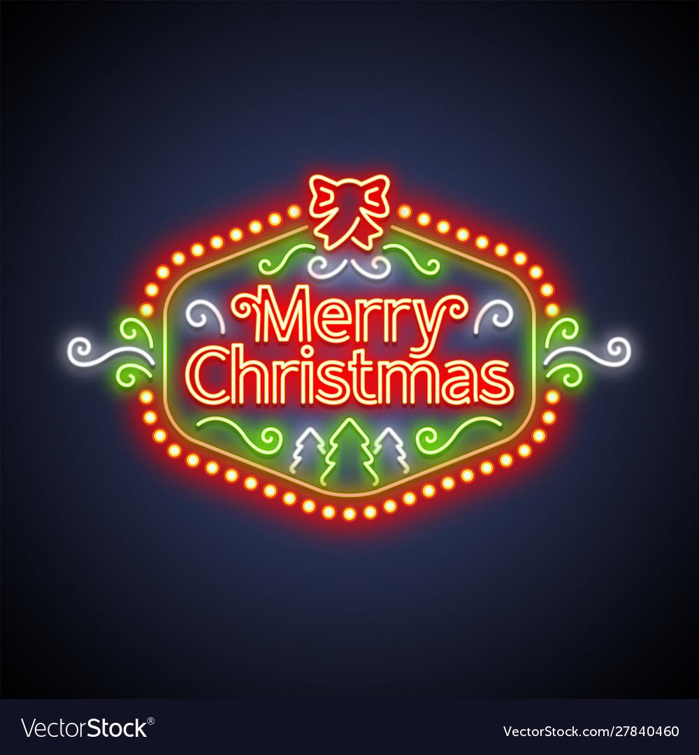 Merry christmas neon sign on dark