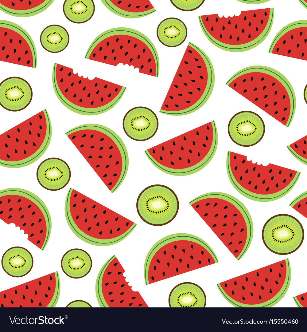 Seamless pattern with watermelon and kiwi