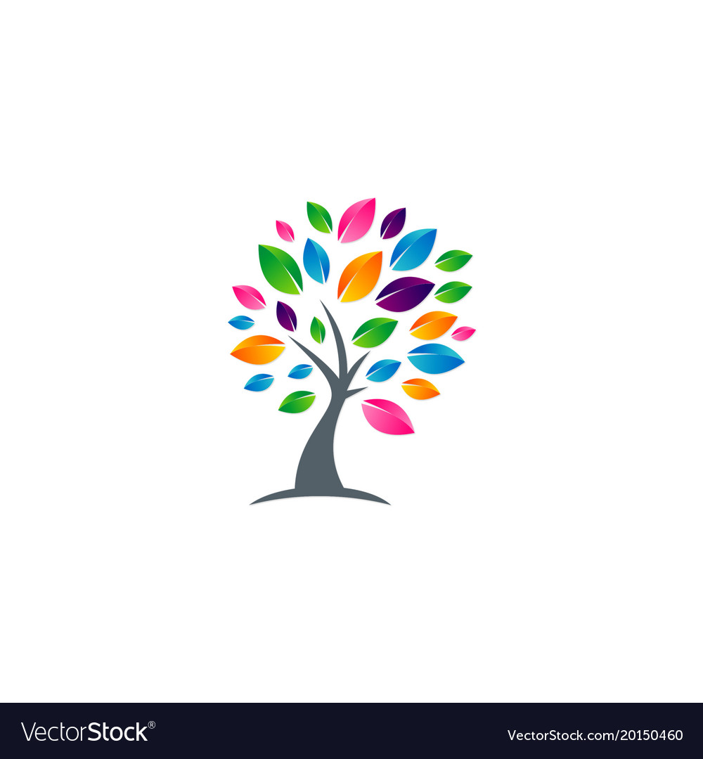 Tree abstract colorful leaf logo