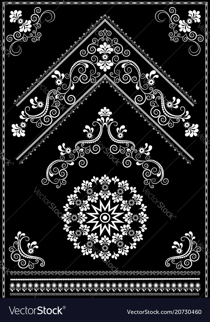 White ornaments and corner on black background vector image