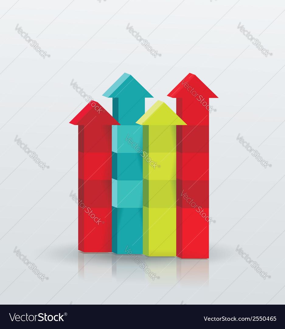 Arrow rising toward same direction success concept