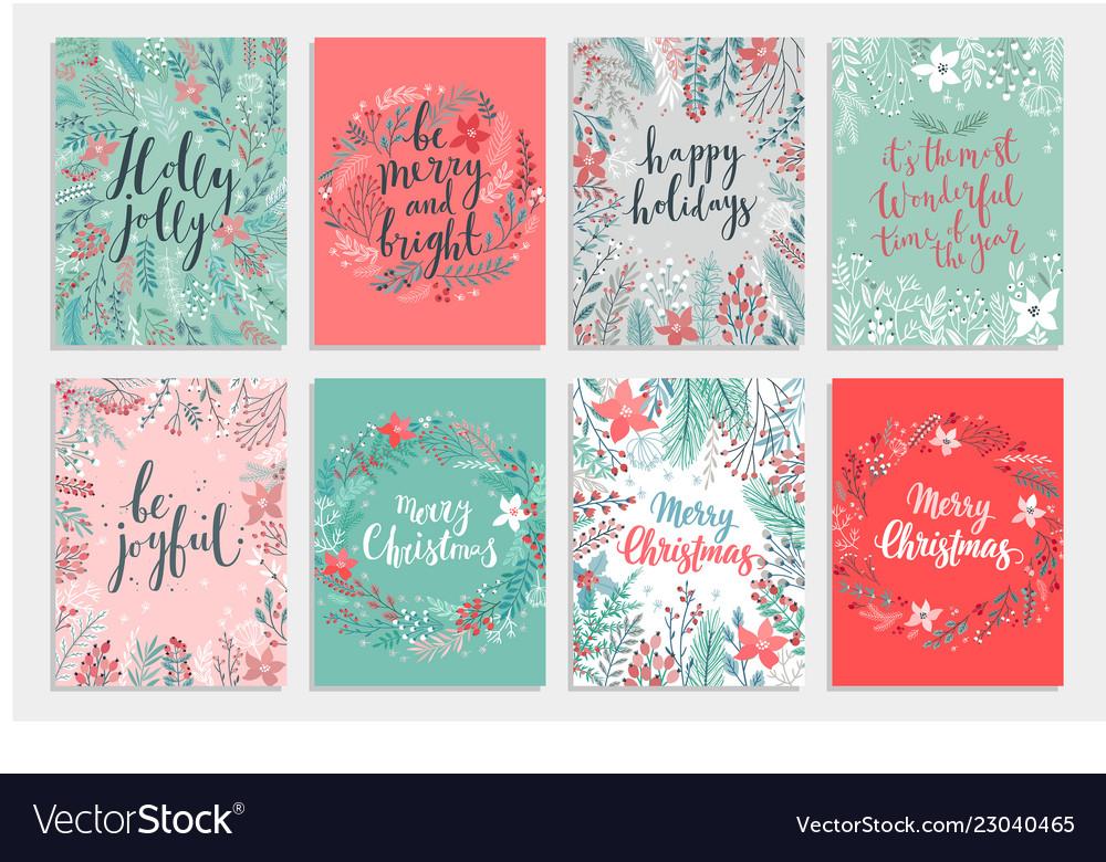 Christmas calligraphic card set - hand drawn