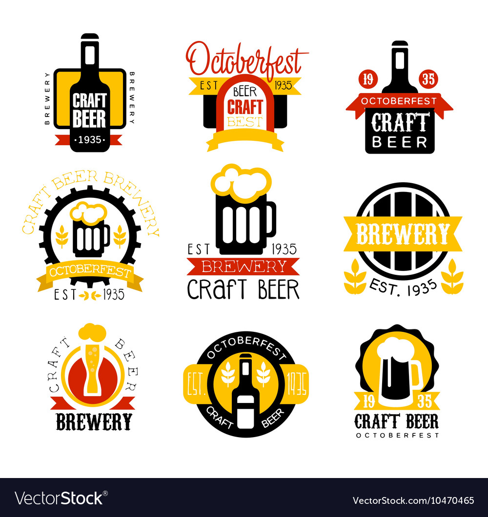 Craft Beer Set Of Logo Design Templates Royalty Free Vector