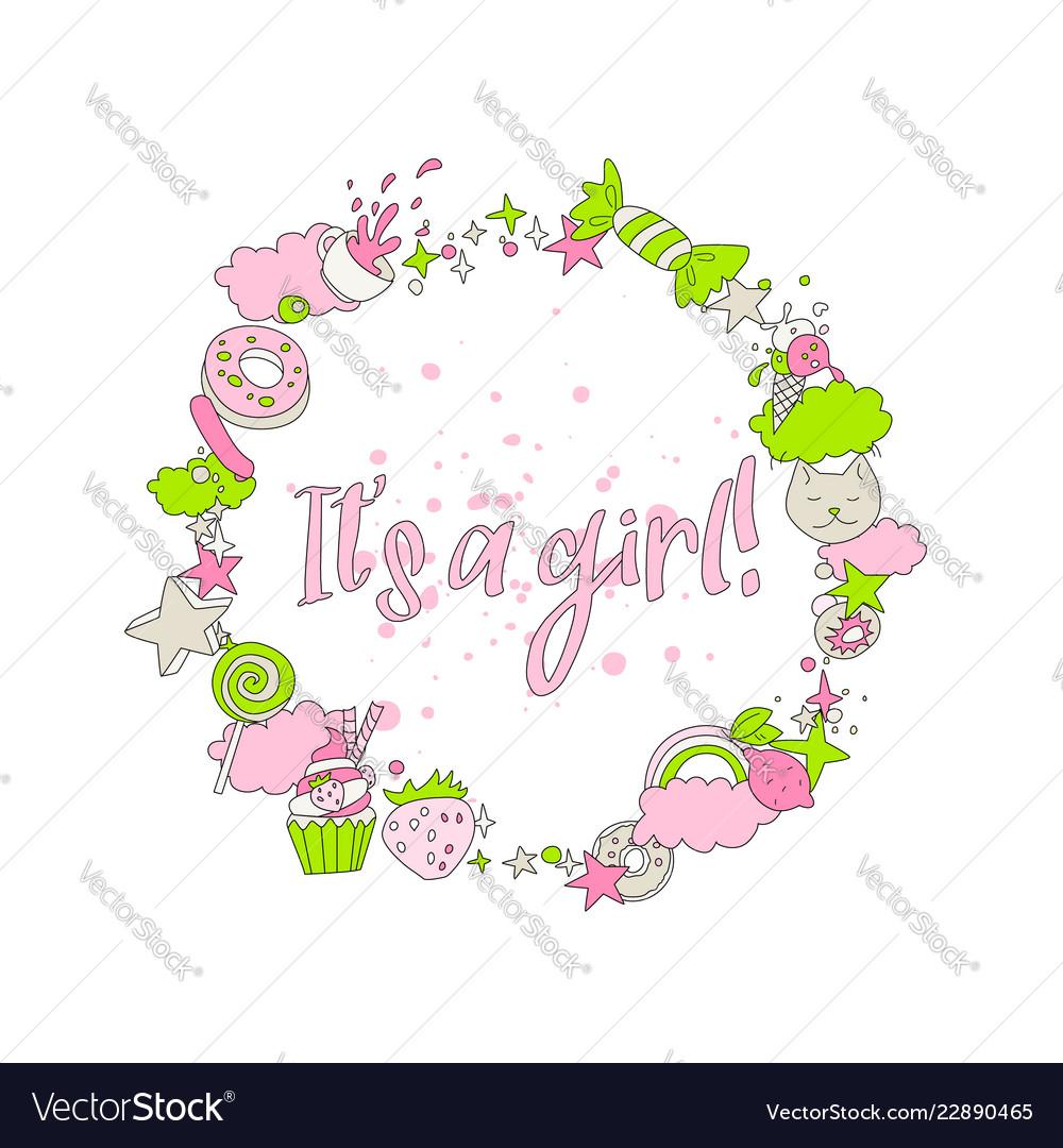 Cute pink greeting card with newborn girl cartoon
