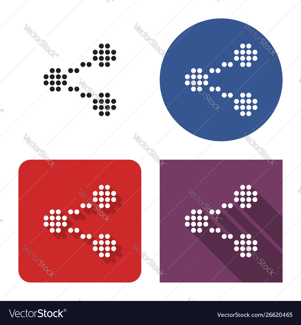 Dotted icon share sign in four variants with