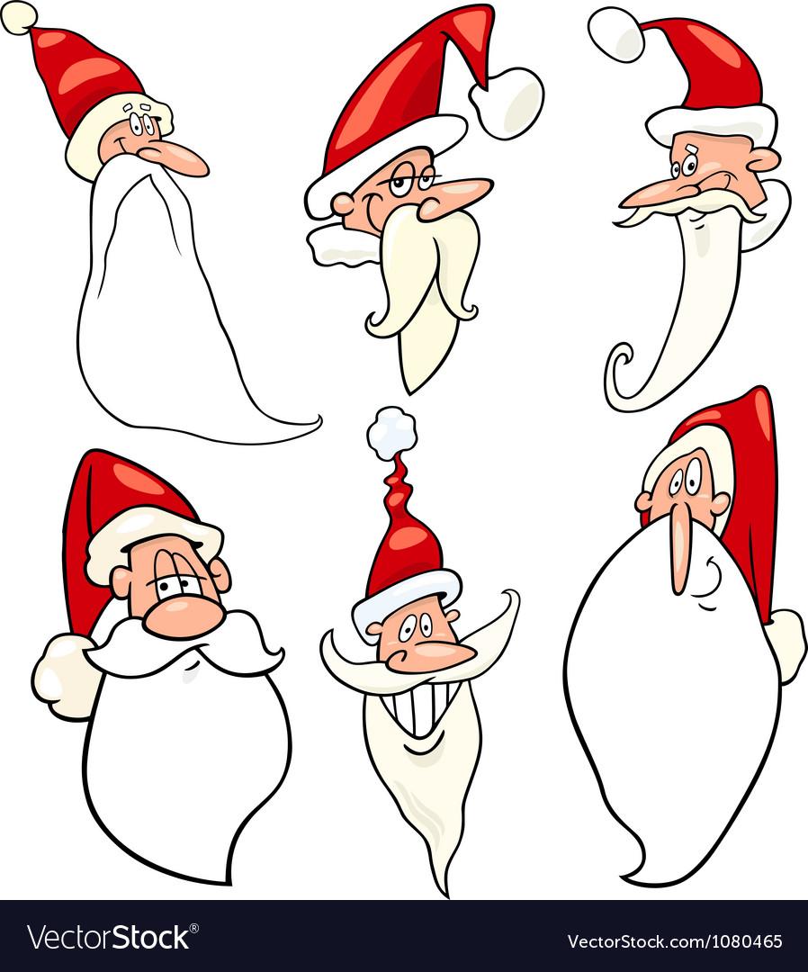 Funny santa claus cartoon faces icons set