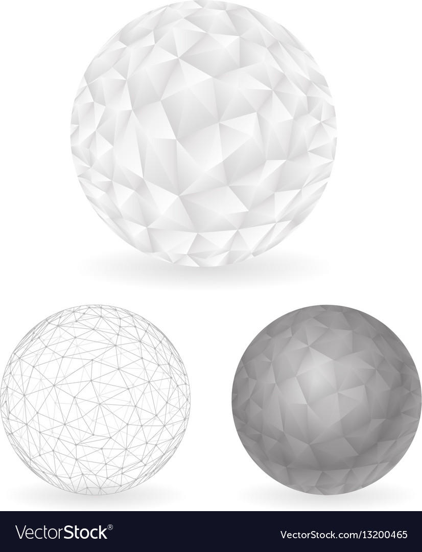 Geometric Design Low Polygonal Sphere Template Vector Image