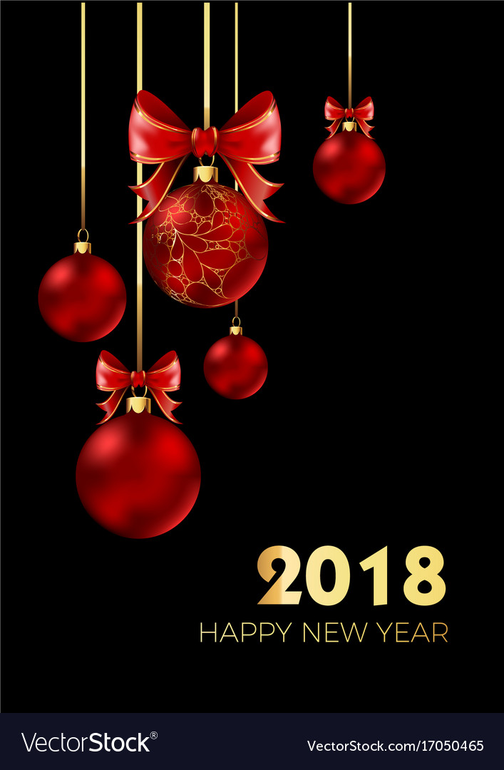 Happy new year 2018 postcard with christmas tree