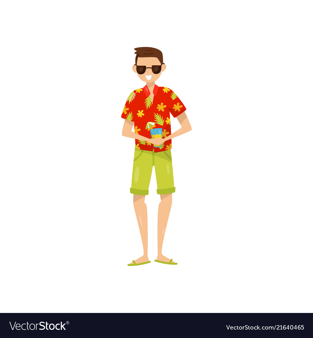 Happy young man in sunglasses and hawaiian aloha