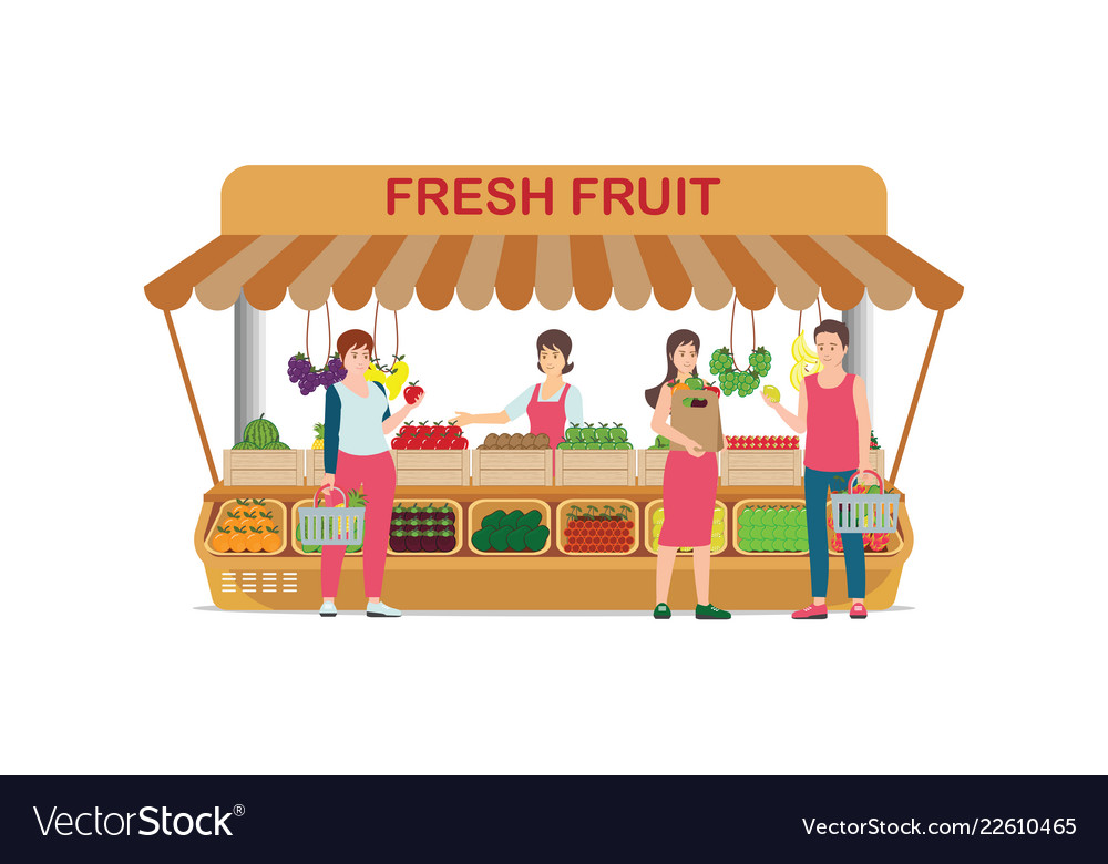 Local farm market fruit shop with fruit seller