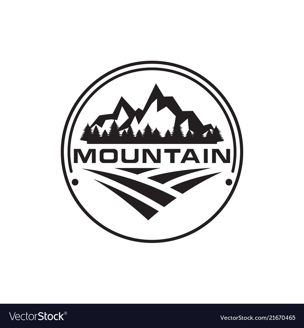 Mountain trees house and field logo design