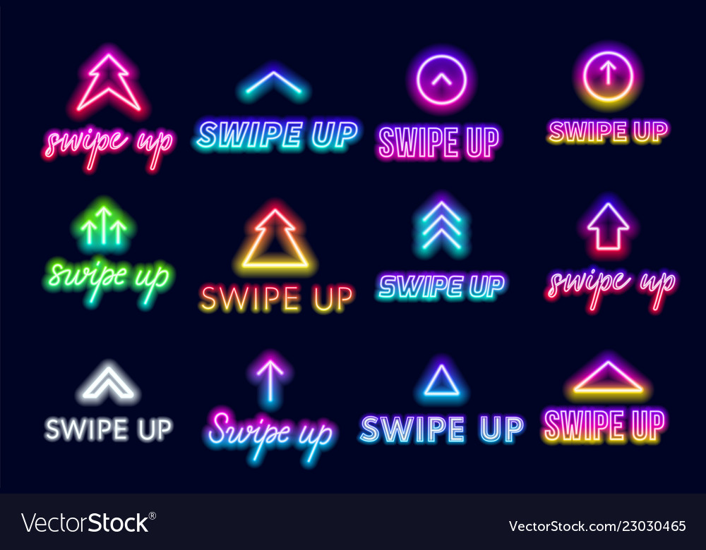 Neon sign swipe up button for stories in the