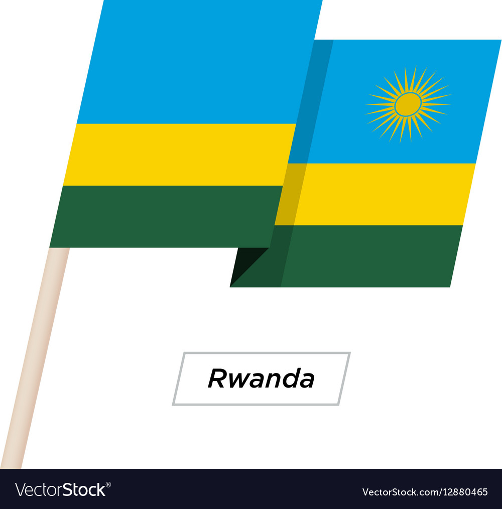 Rwanda Ribbon Waving Flag Isolated on White vector image