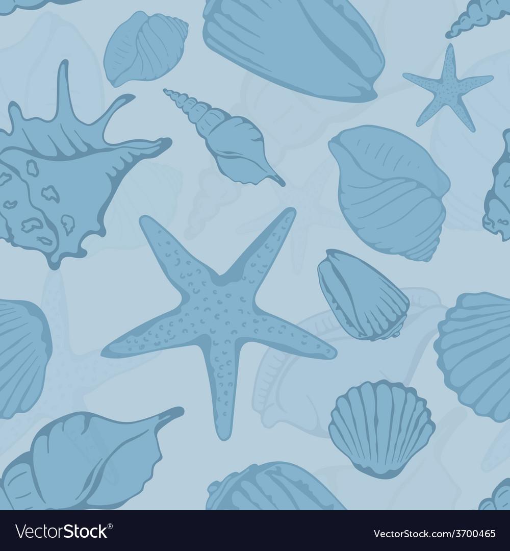 Seamless pattern of hand drawn seashells