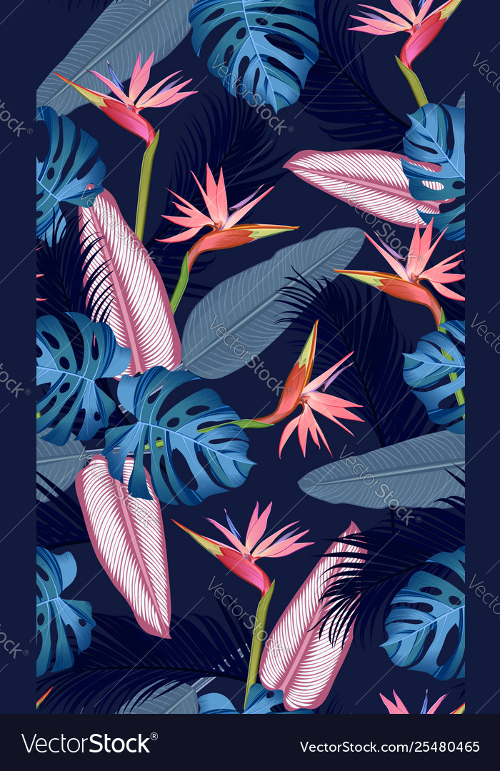 Seamless pattern tropical leaves with bird of