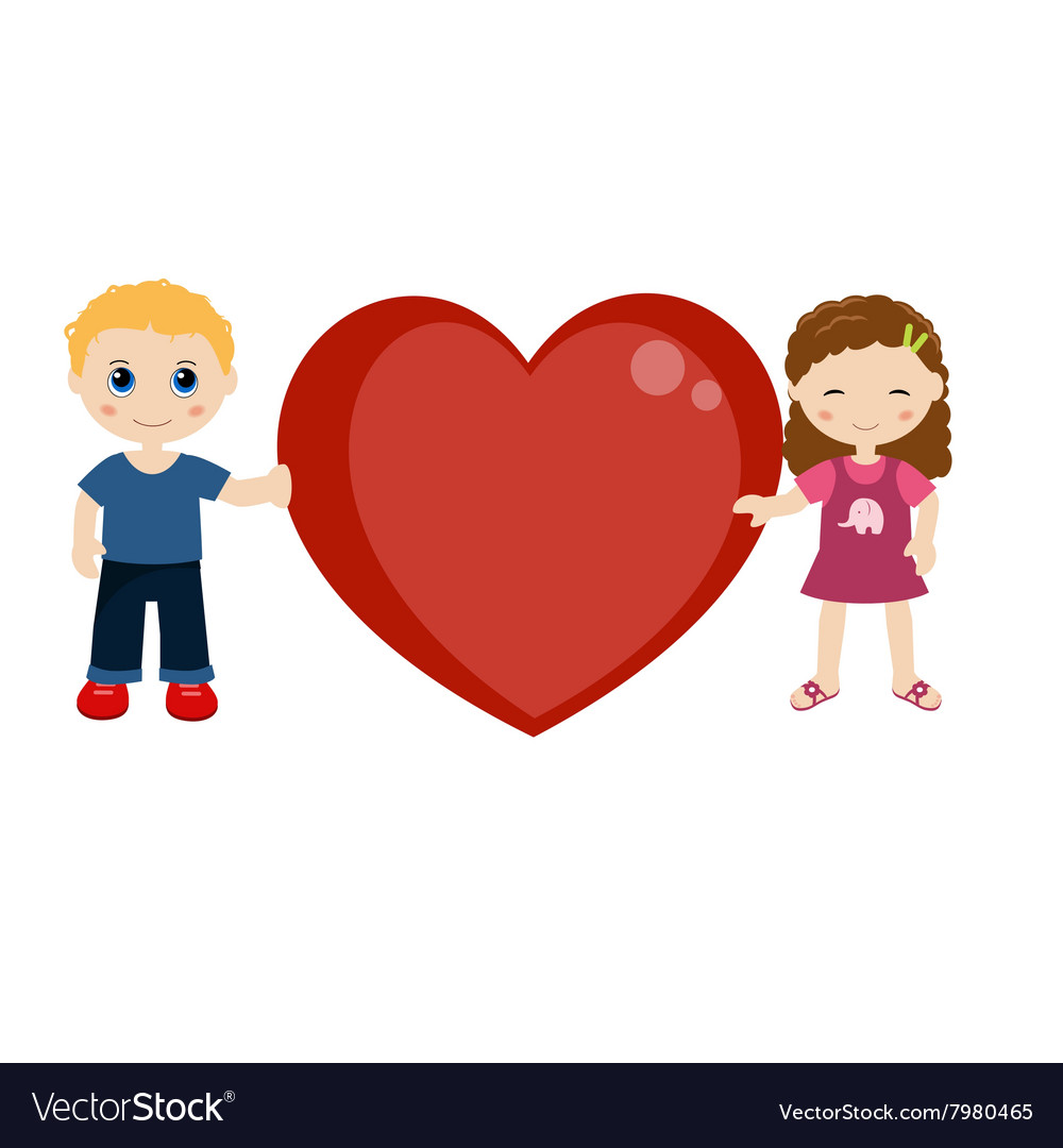 Two Children Holding A Heart Royalty Free Vector Image