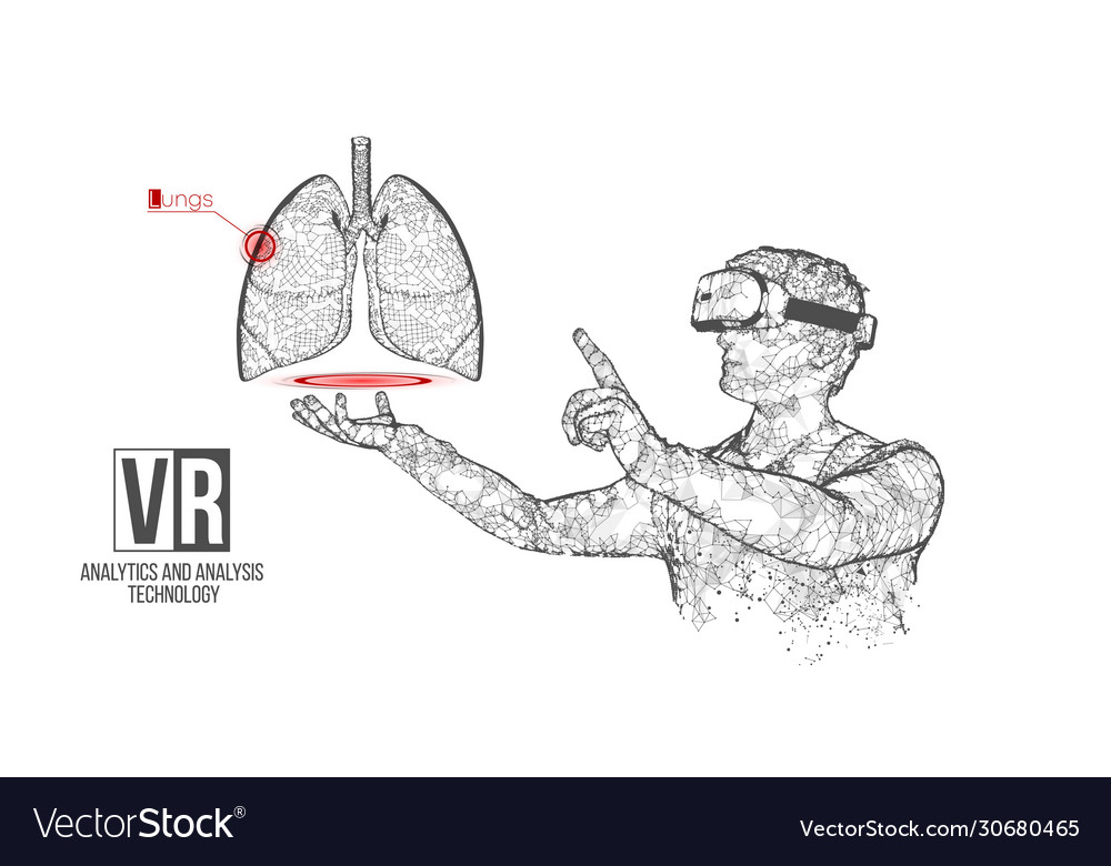 Vr wireframe headset man with lung banner