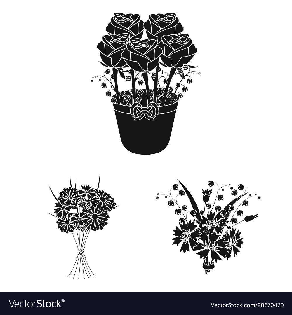 A bouquet of fresh flowers black icons in set vector image izmirmasajfo