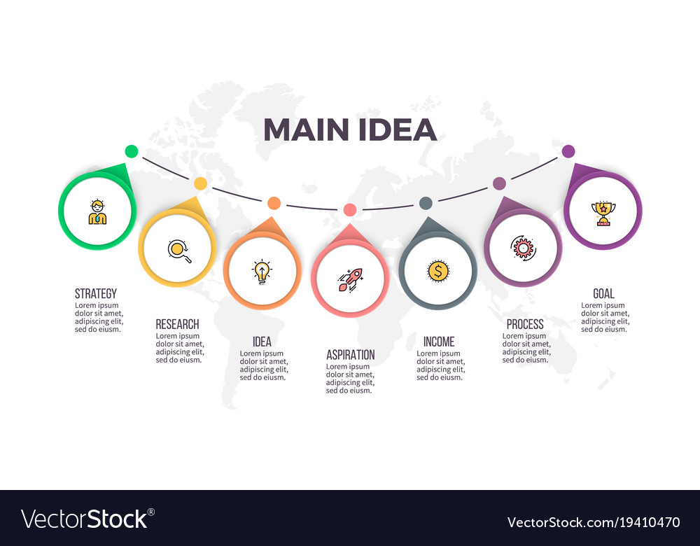 Business infographics timeline with 7 steps