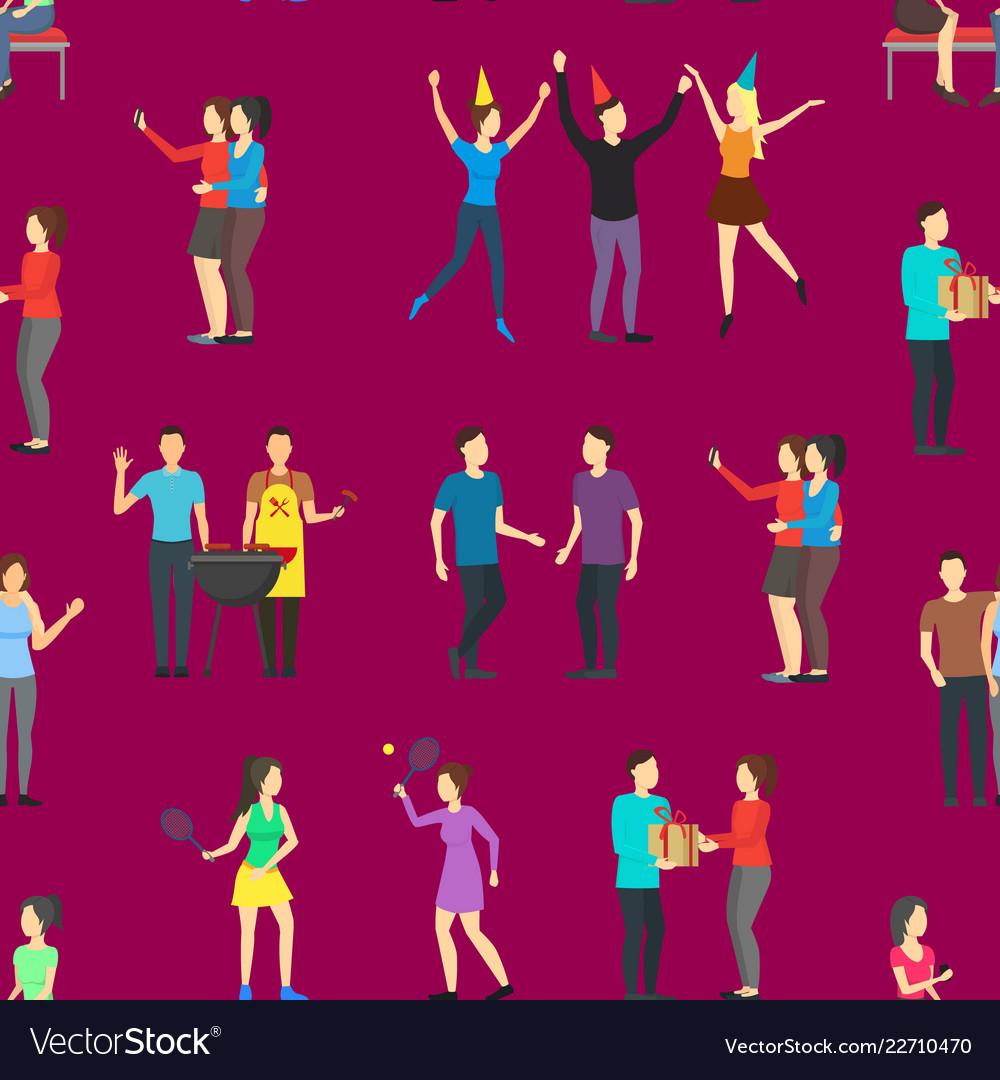 Cartoon friends social characters seamless pattern