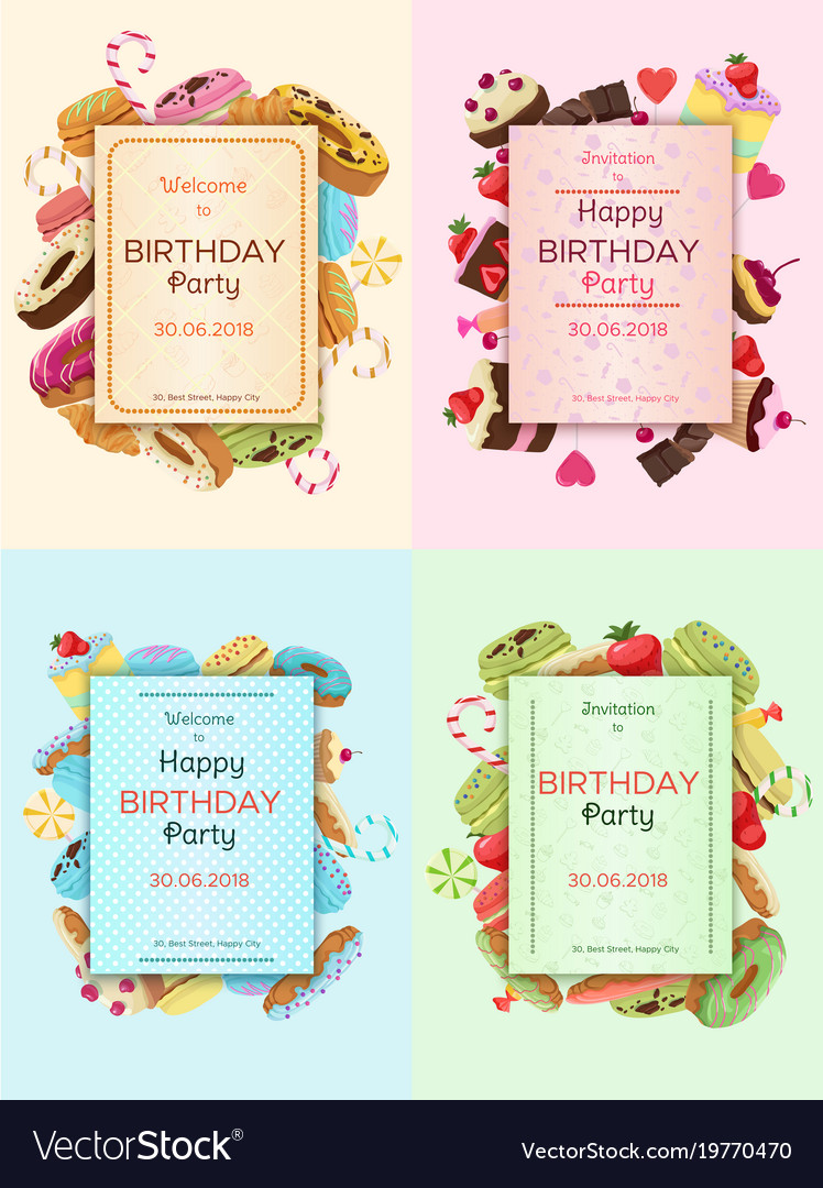 Colorful birthday party invitation cards