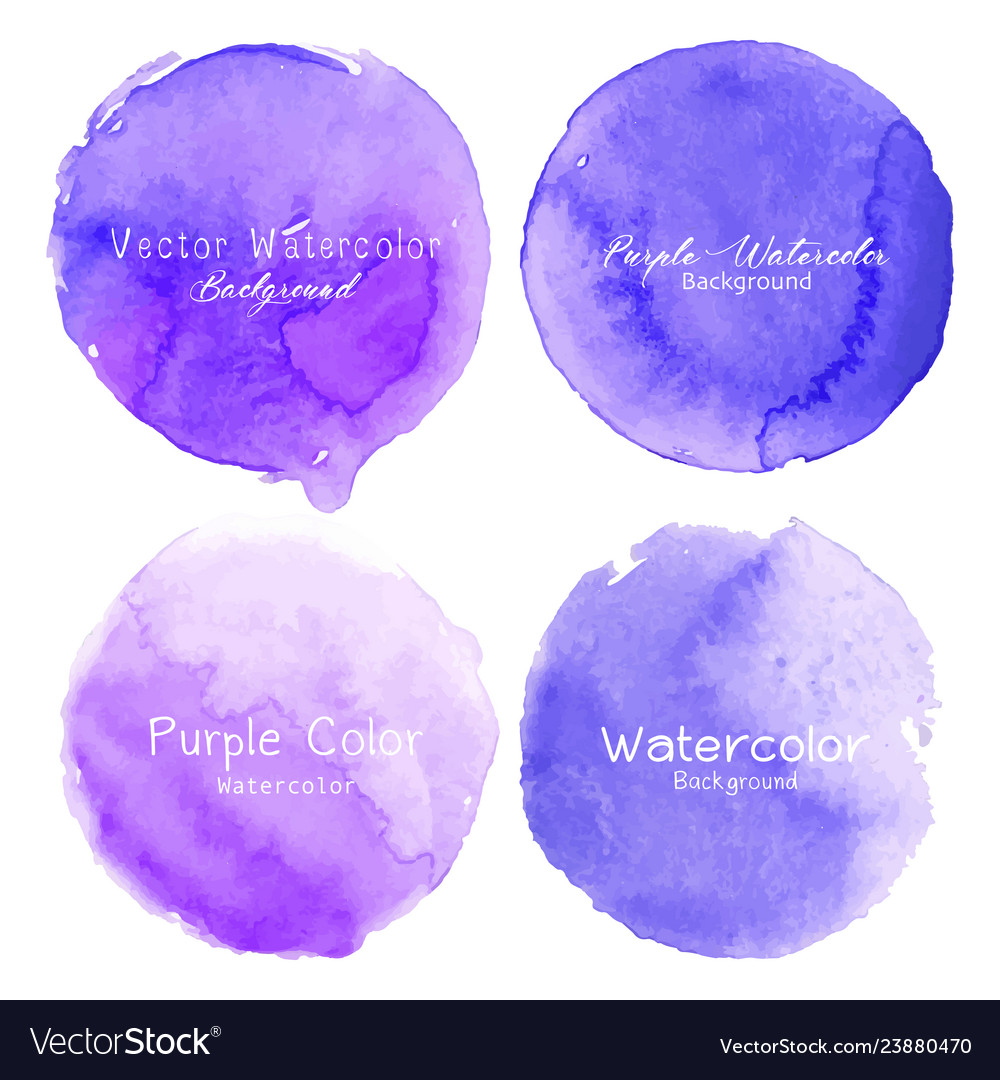 Purple watercolor circle set on white background