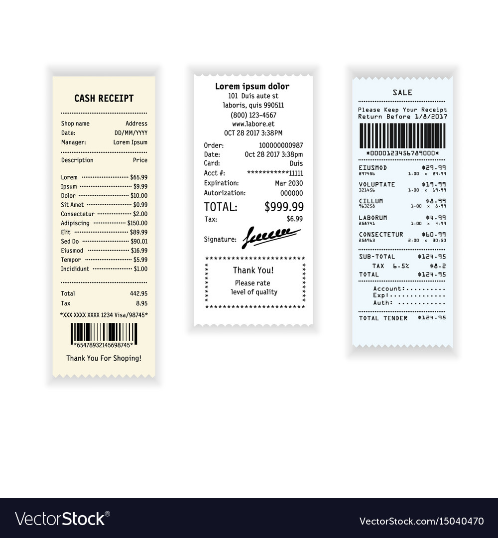 Receipt payment or cash check with prices from vector image
