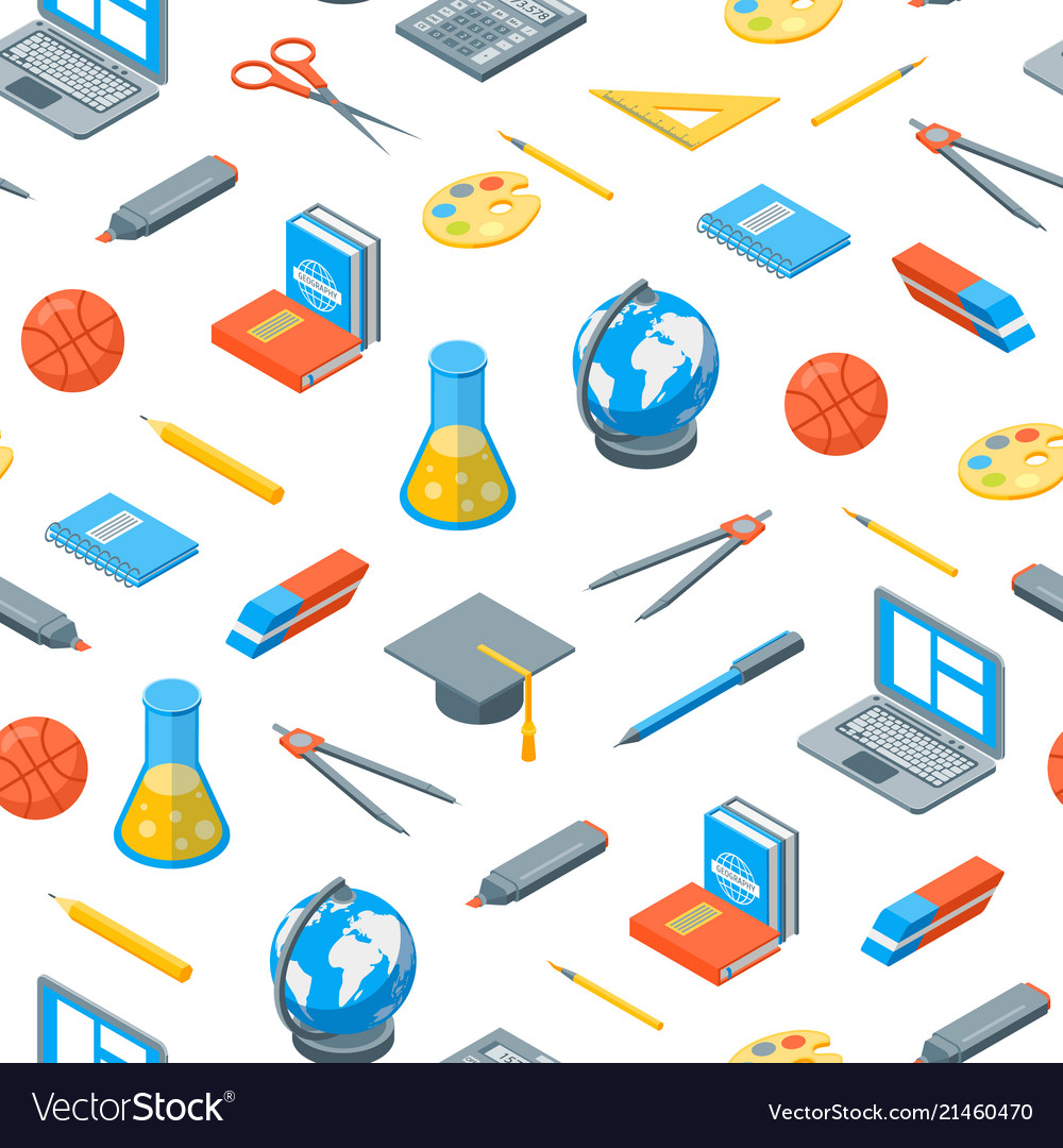 School equipments and tools seamless pattern