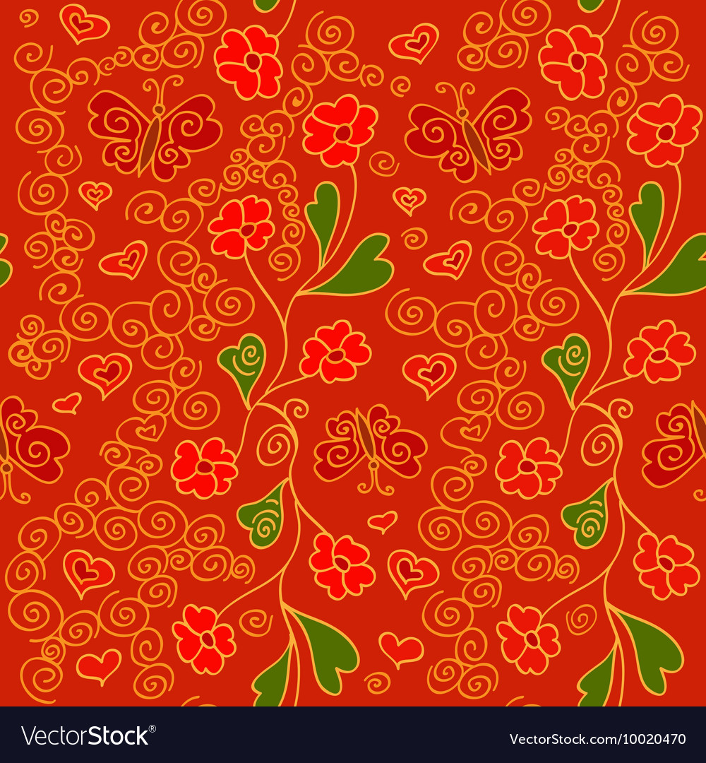 Seamless pattern with flowers butterflies and