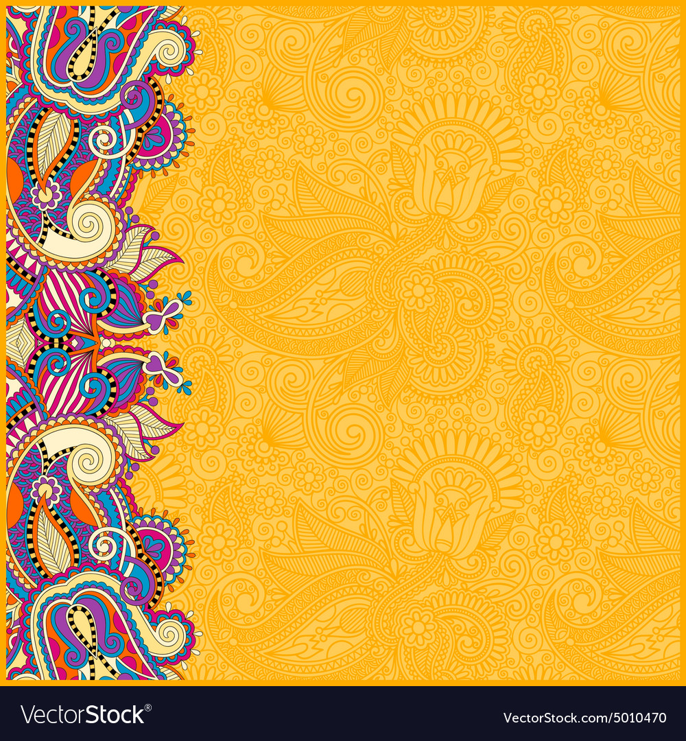 Yellow Vintage Floral Background For Your Design Vector Image
